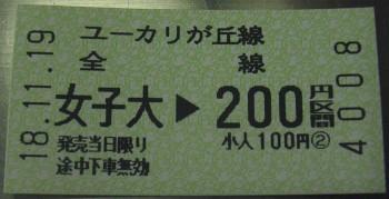 女子大→200円区間